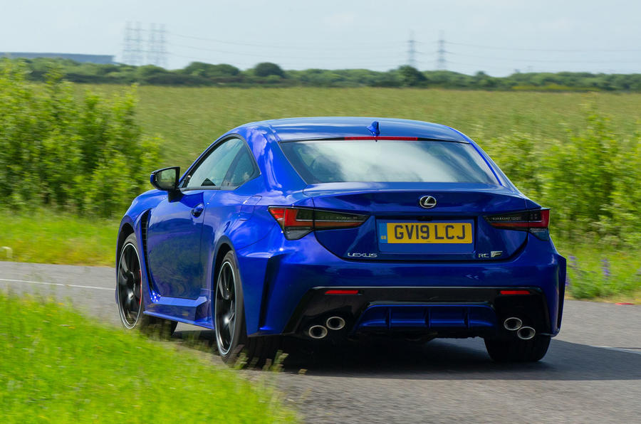 Lexus RC F with track pack 2019 first drive review - cornering rear