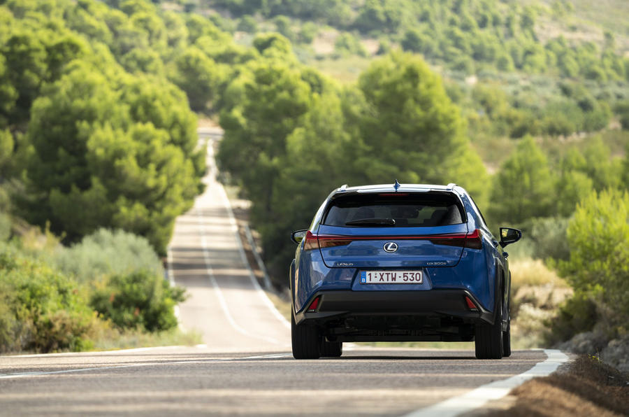 Lexus UX300e 2020 UK first drive review - cornering rear