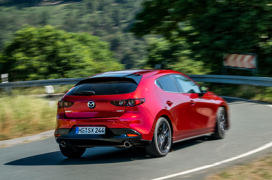 Mazda 3 Skyactiv-X 2019 first drive review - cornering rear