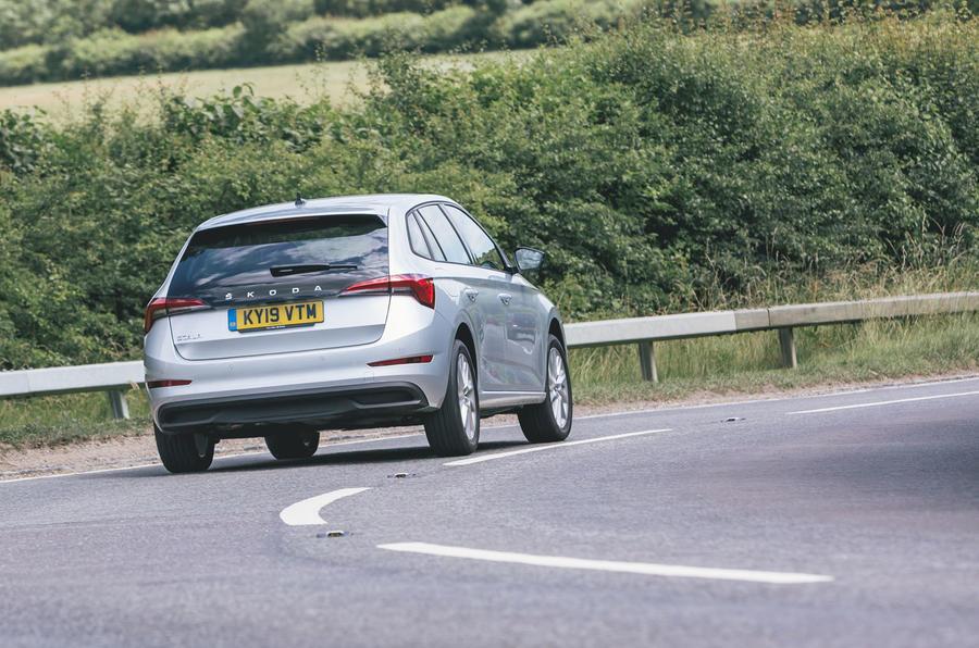 Skoda Scala 1.5 TSI SE 2019 UK first drive review - cornering rear