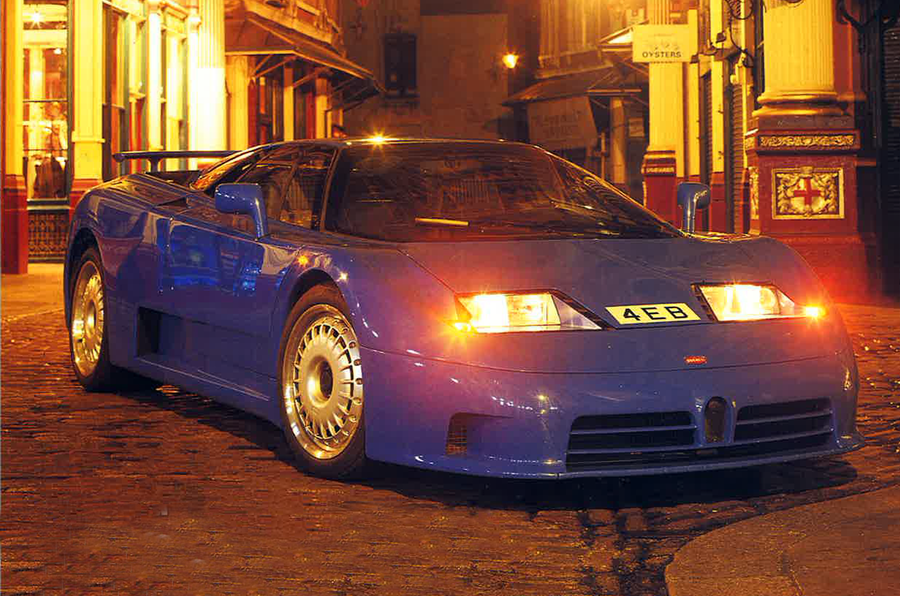 Bugatti EB110 GT with headlights on