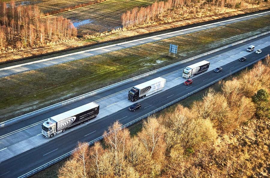Mercedes lorry convoy