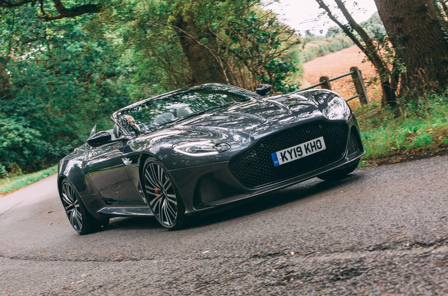 Aston Martin DBS Superleggera Volante 2019 UK first drive review - cornering front