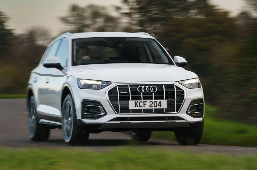 Audi Q5 40 TDI Sport 2020 UK first drive review - cornering front