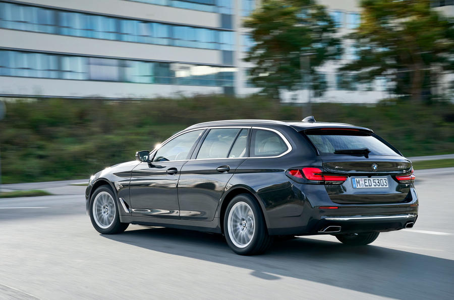 BMW 5 Series 2020 UK (LHD) first drive review - cornering rear