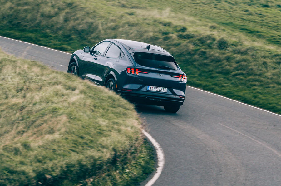 Ford Mustang Mach E 2021 UK first drive review -  cornering rear