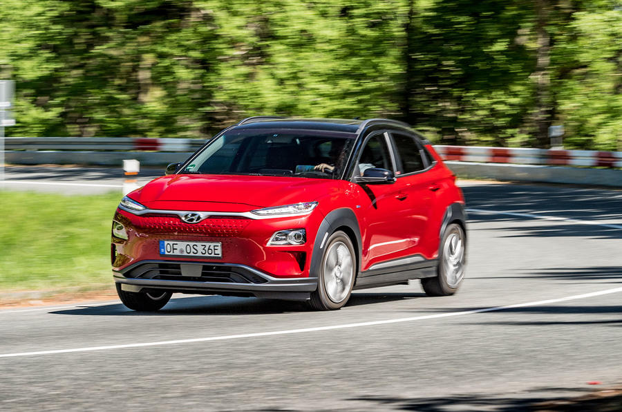 Hyundai Kona EV prototype drive 2018 cornering front
