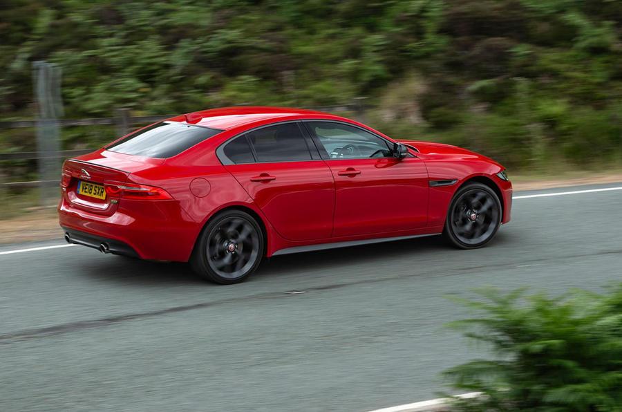 Jaguar XE 300 Sport 2018 UK first drive review cornering rear