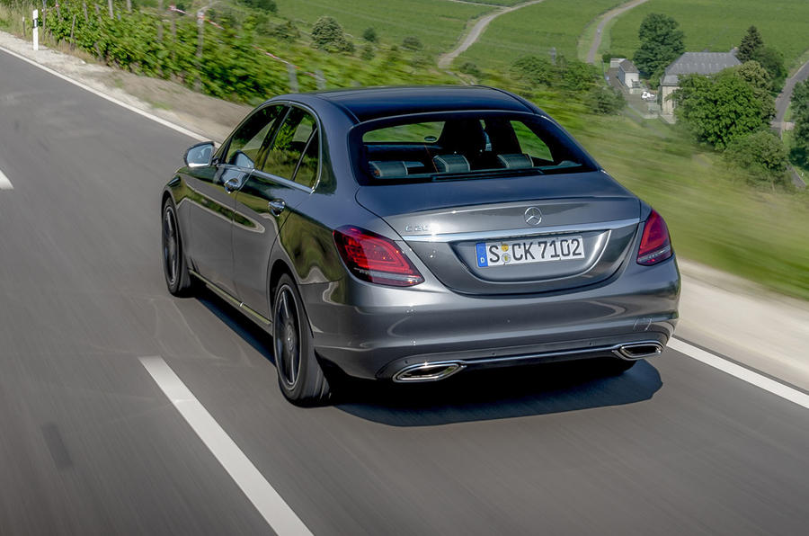 Mercedes-Benz C-Class C200 2018 review on the road rear