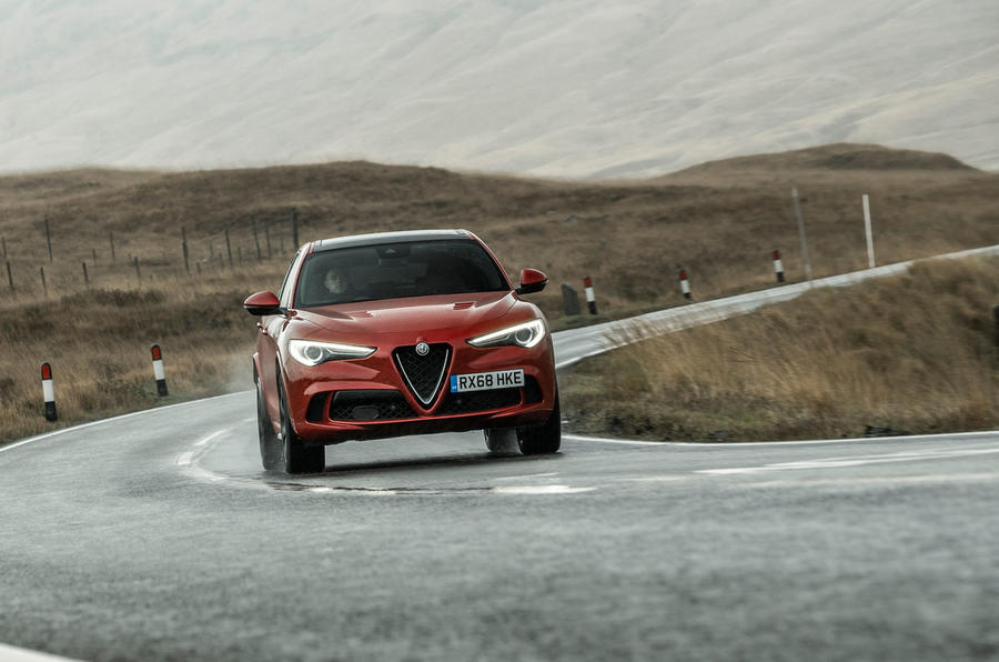 Alfa Romeo Stelvio Quadrifoglio 2018 UK RHD first drive - cornering front