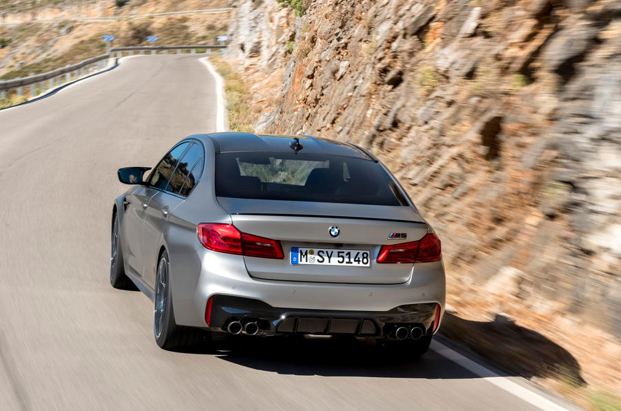 BMW M5 Competition 2018 first drive review on the road rear