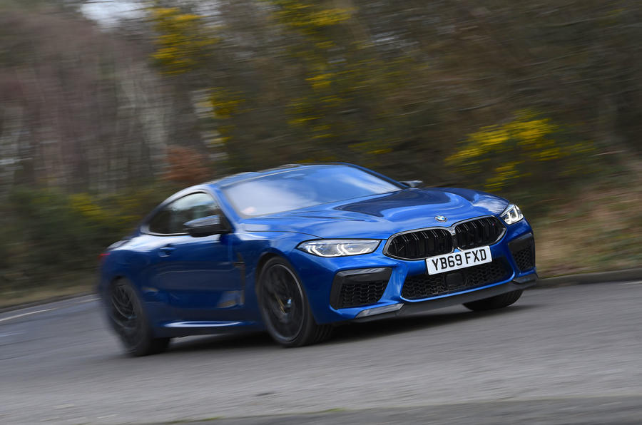 BMW M8 Competition Coupe 2020 UK first drive review - cornering front