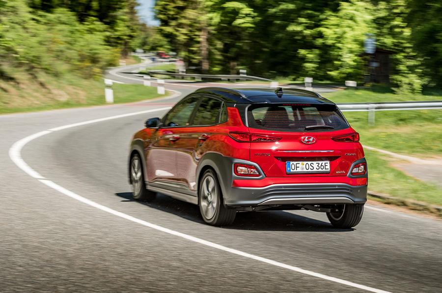 Hyundai Kona EV prototype drive 2018 cornering rear
