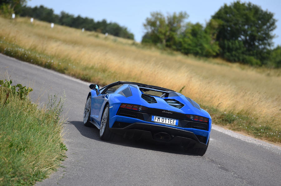 Lamborghini Aventador S 2018 first drive review cornering rear