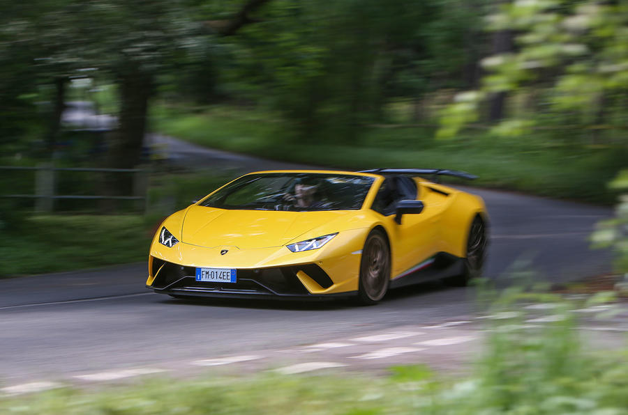 Lamborghini Huracan Performante Spyder 2018 UK review on the road front
