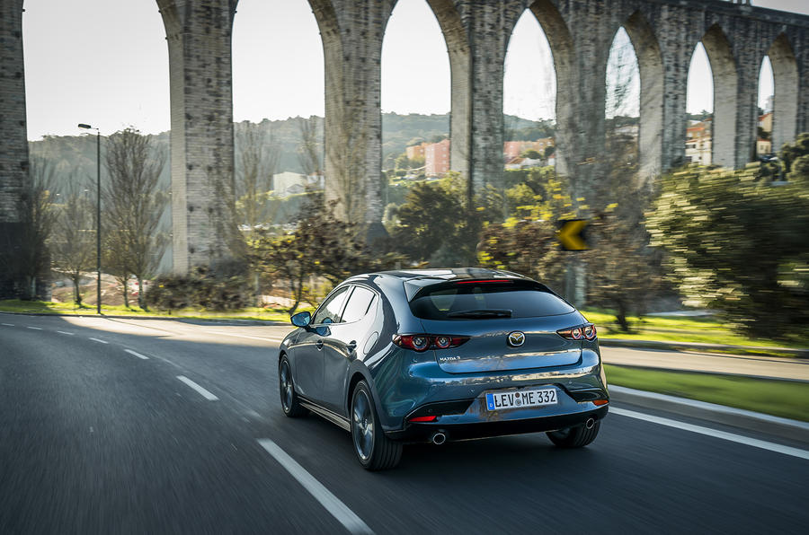 Mazda 3 2019 European first drive review - aqueduct rear