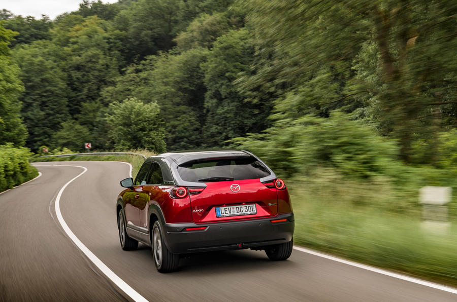 Mazda MX-30 2020 UK first drive review - on the road rear