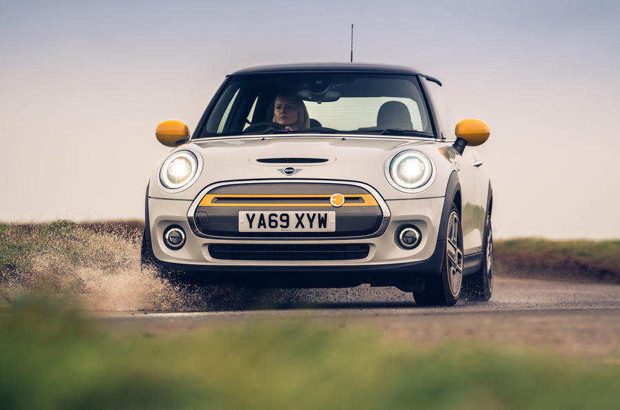 Mini Electric 2020 UK first drive review - cornering front