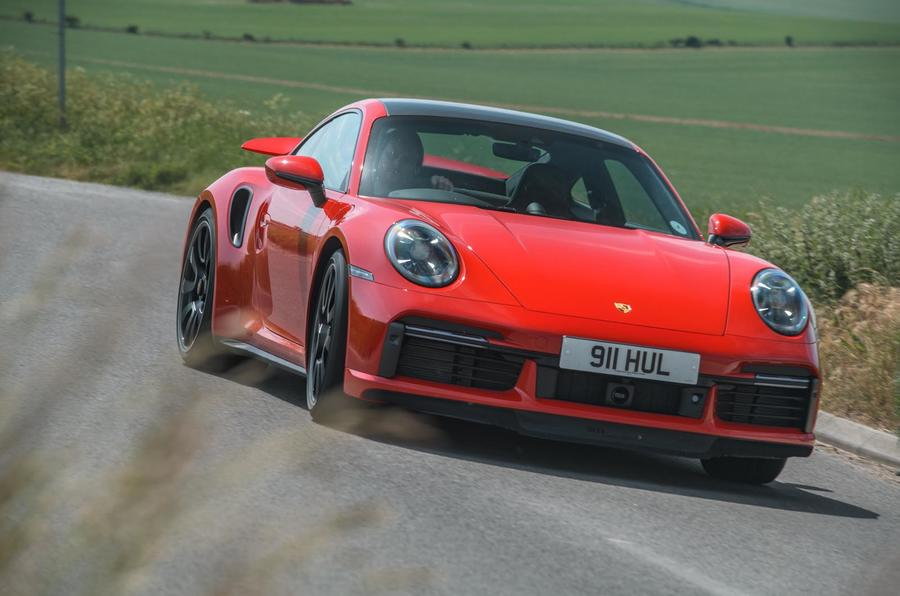 Porsche 911 Turbo S 2020 UK first drive review - cornering front