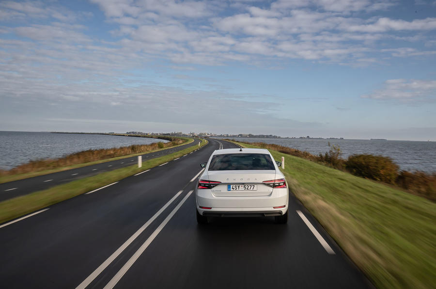 Skoda Superb iV 2020 first drive review - on the road rear