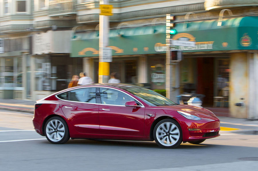 Tesla Model 3 2018 review on the road side