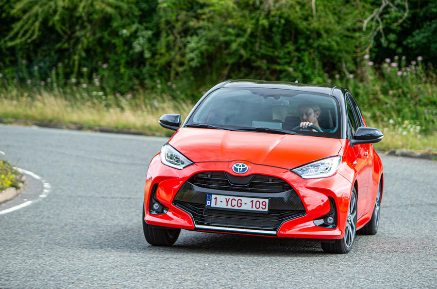 Toyota Yaris hybrid 2020 UK first drive review - cornering front