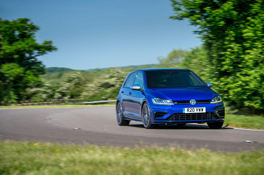 Volkswagen Golf R Performance Pack 2018 review cornering front