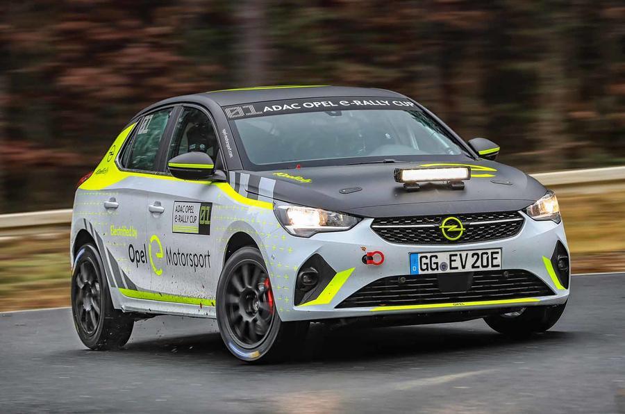 Vauxhall Corsa-e rally car sliding