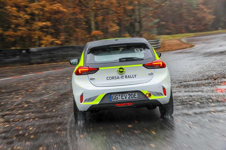 Vauxhall Corsa-e rally car rear dead