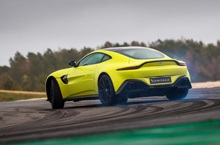 Aston Martin Vantage smoking tyres rear