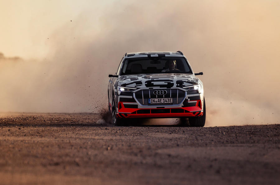 Audi e-Tron 2019 prototype first drive review - driving nose