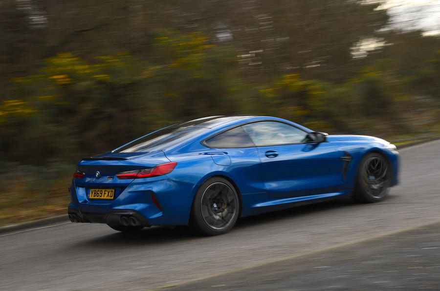 BMW M8 Competition Coupe 2020 UK first drive review - cornering rear