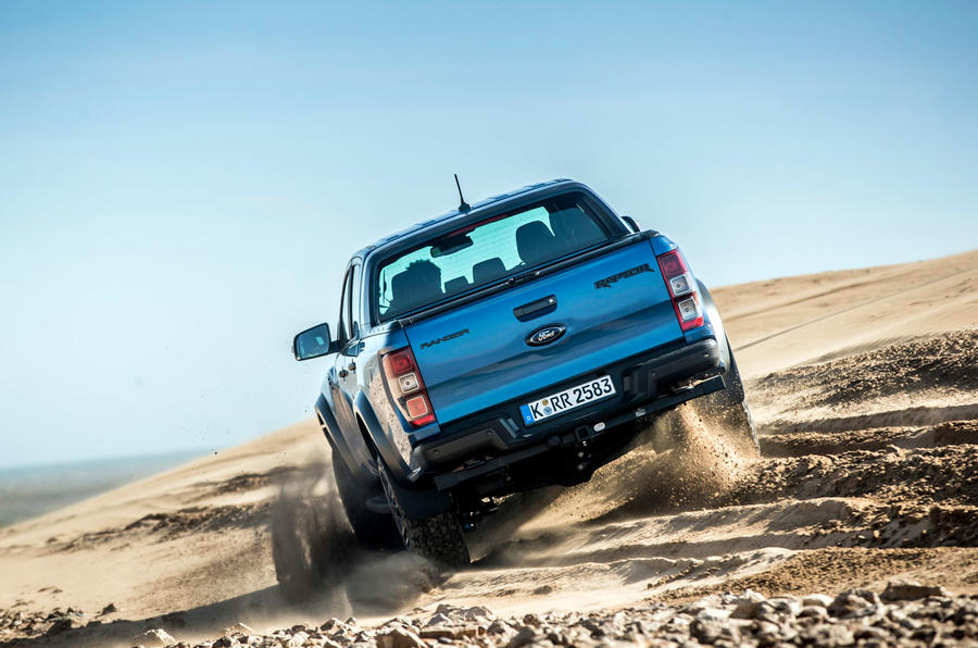 Ford Ranger Raptor 2019 first drive review - sand rear