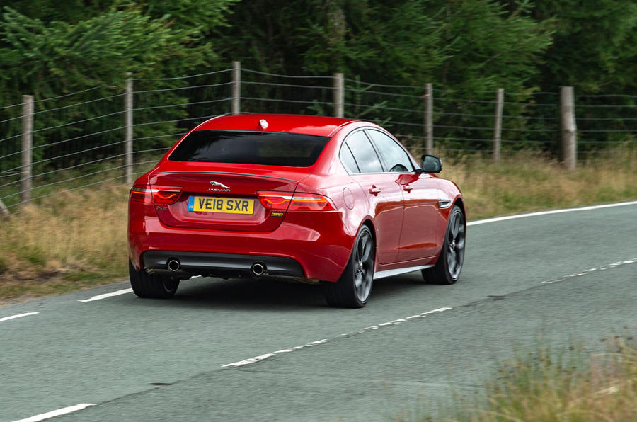 Jaguar XE 300 Sport 2018 UK first drive review on the road rear