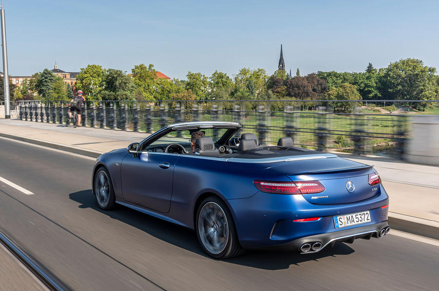 Mercedes-AMG E53 Cabriolet 2020 first drive review - on the road rear