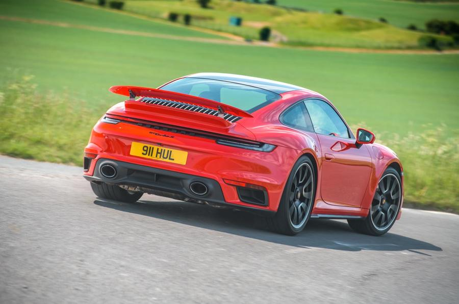 Porsche 911 Turbo S 2020 UK first drive review - cornering rear