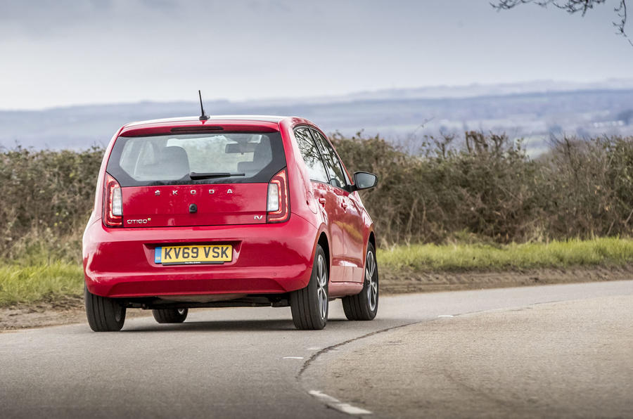 Skoda Citigo-e iV 2020 UK first drive review - on the road rear