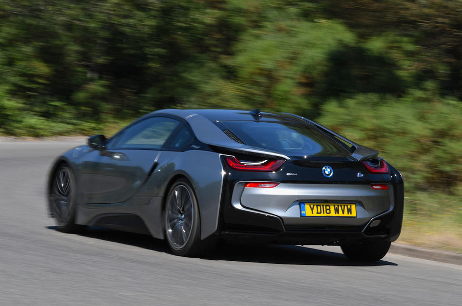 BMW i8 Coupe 2018 UK first drive review hero rear