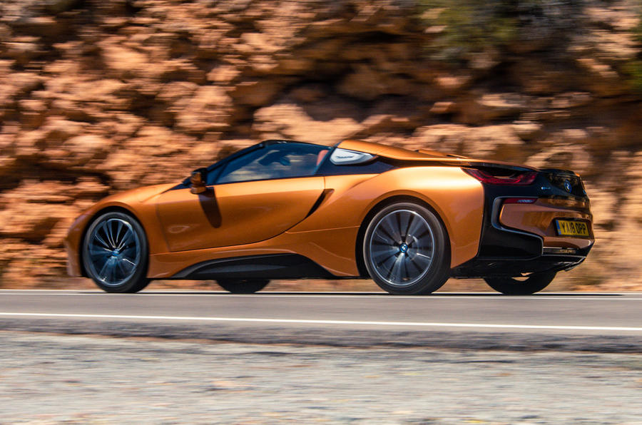 BMW i8 Roadster 2018 UK first drive review - hero side