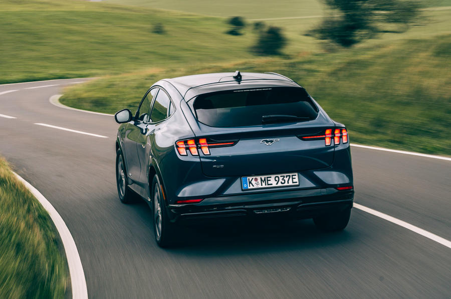 Ford Mustang Mach E 2021 UK first drive review -  hero rear