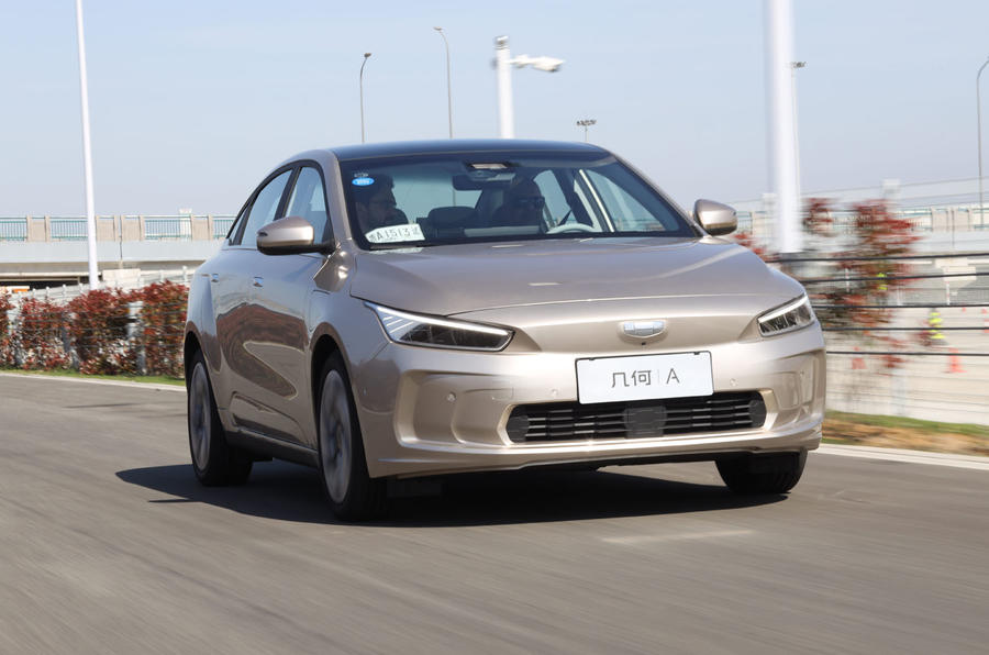 Geely Geometry A 2019 prototype drive - on the road nose