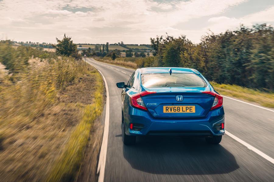Honda Civic saloon 2018 UK first drive review hero rear