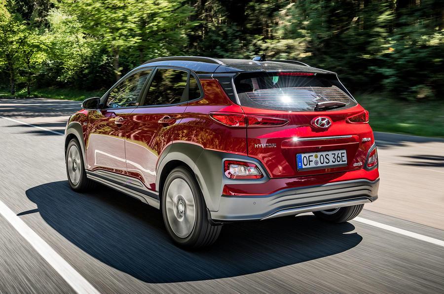 Hyundai Kona EV prototype drive 2018 hero rear