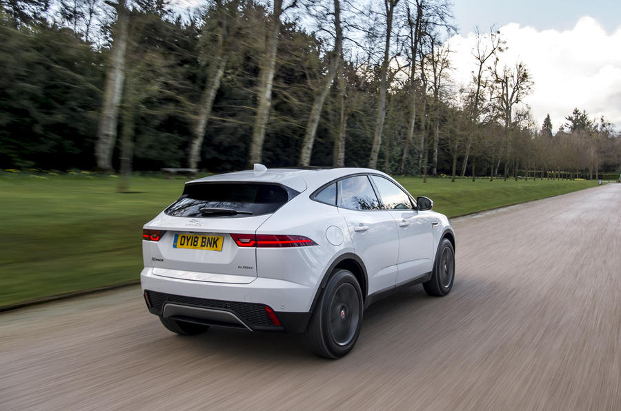 Jaguar E-Pace D150 2018 review on the road rear