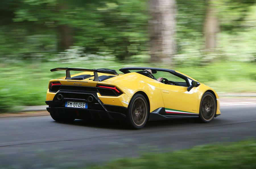 Lamborghini Huracan Performante Spyder 2018 UK review hero rear