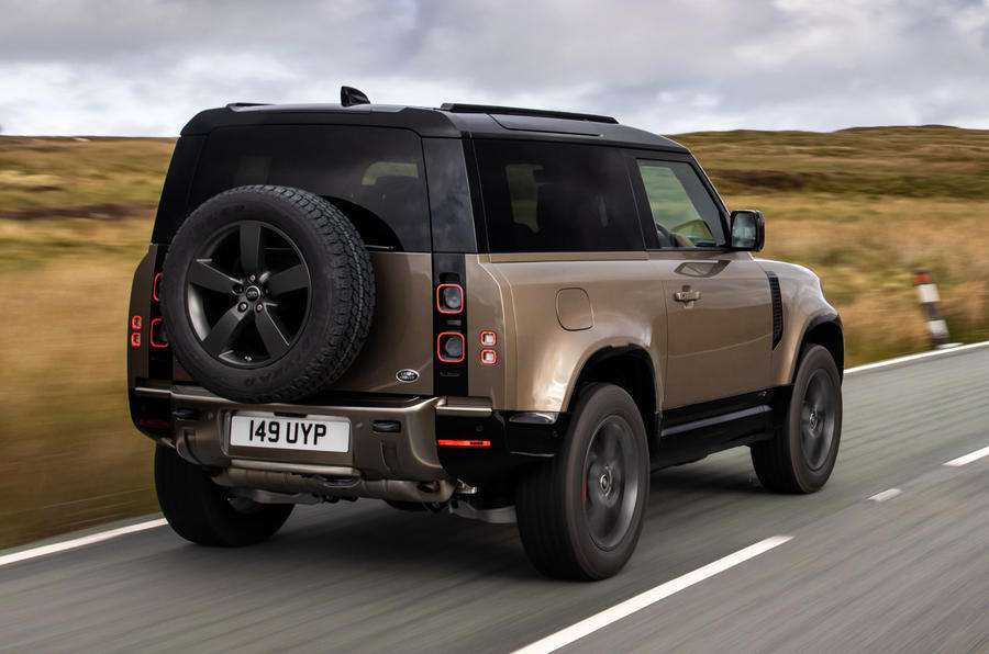 Land Rover Defender 90 on the road rear