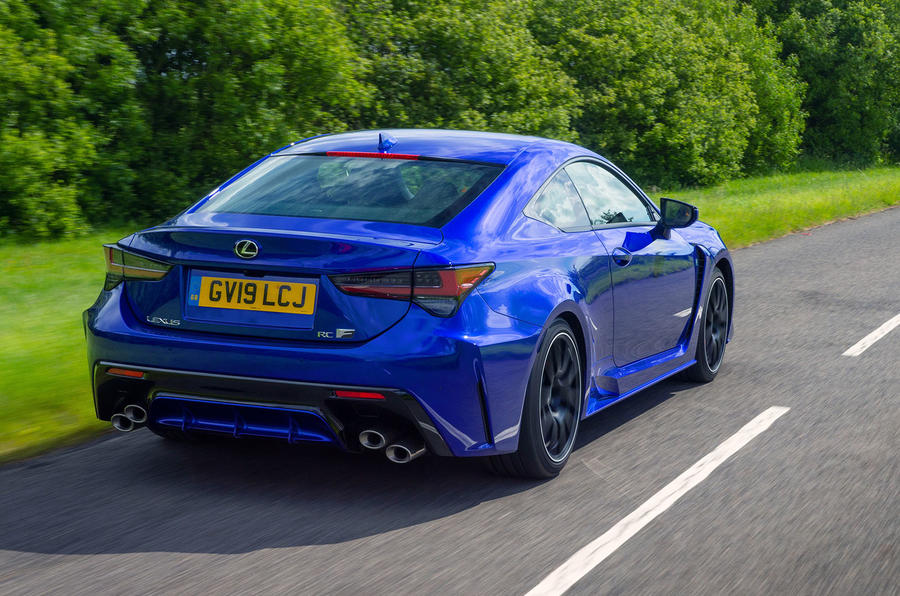 Lexus RC F with track pack 2019 first drive review - hero rear