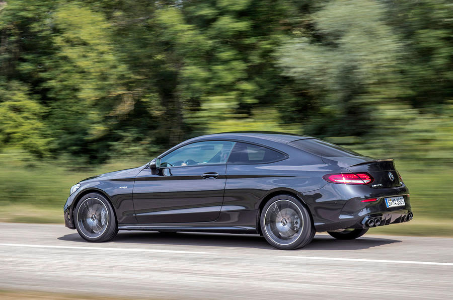 Mercedes-AMG C43 2018 first drive review hero rear