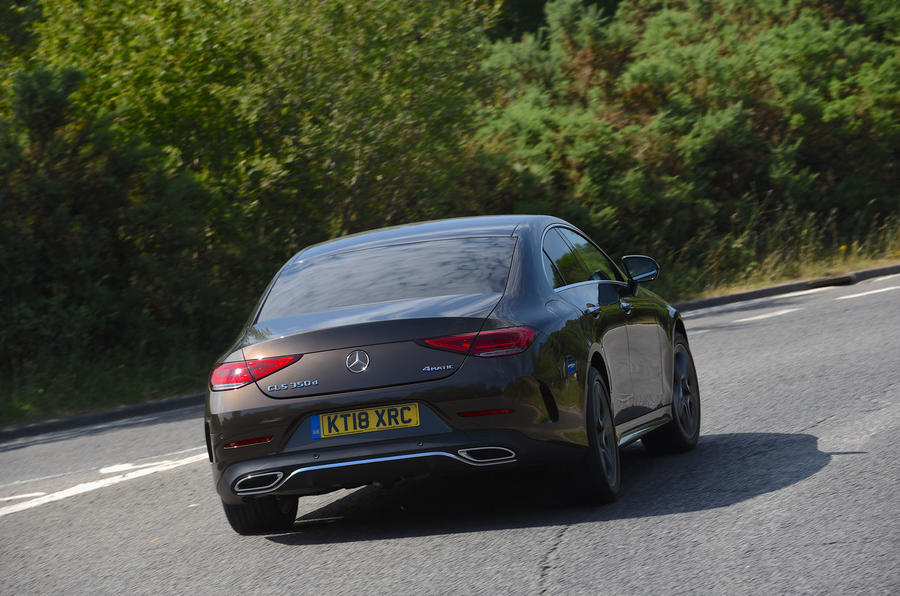 Mercedes-Benz CLS 350 d 2018 UK first drive hero rear
