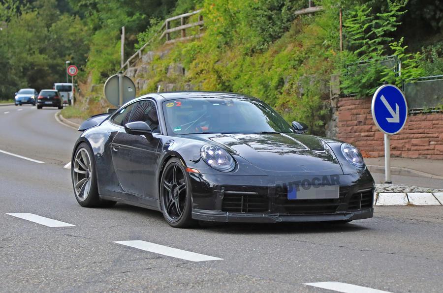 2020 Porsche 911 GT3 spotted testing front left